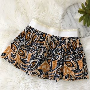 F21 Navy Mustard Yellow Boho Print Mini Skirt